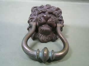 Vintage Brass Door Knocker Lions Head Ring Architectural Bronze