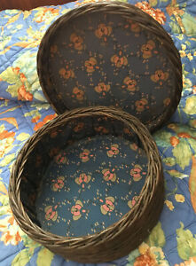 Antique Wicker Sewing Basket Lined Art Deco Fabric Sturdy Victorian