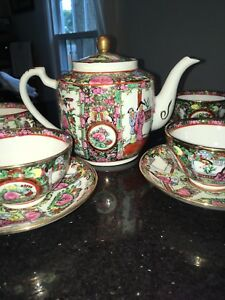 Vintage Famille Rose Medallion Teapot 4 Cups And 4 Saucers Beautiful Condition