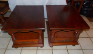Pair Of Solid Cherry Mid Century End Tables Side Tables T784