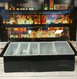 Ice Cooled Roll Top Condiment Holder Black With Clear Lid W 5 Inserts