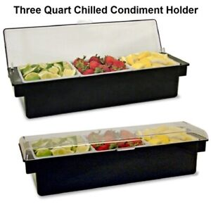 Ice Cooled Roll Top Condiment Holder Black With Clear Lid W Quart Inserts
