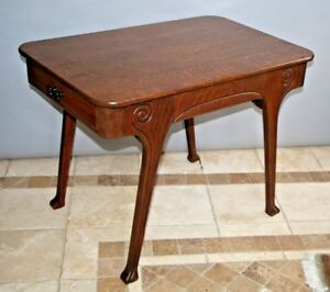 Antique Oak Mission Arts And Crafts Carved Library Center Table Two Drawers