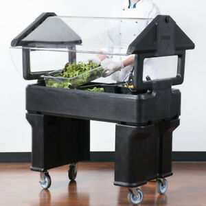 4 Black Plastic Nsf Open Base Portable Food Salad Bar With Sneeze Guard Usa
