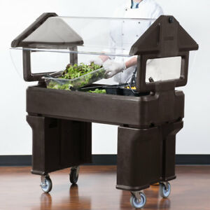 4 Brown Plastic Nsf Open Base Portable Food Salad Bar With Sneeze Guard Usa