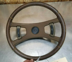 76 77 Ra29 Toyota Celica Gt Steering Wheel Leather Wrapped Brown 4 Spoke Horn Oe