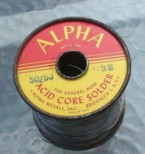 3 Lb 8oz Roll Alpha Metals Inc 50 50 Acid Core Solder 032 Diam