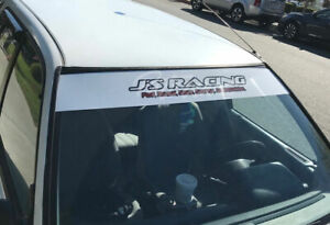 J s Racing Windshield White Banner Decal Jdm