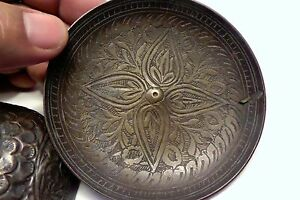 Antique India Hand Chiseled Brass Bowl Tray