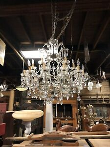 Vintage Large Crystal Chandelier 19 Light Architectural Antique Elegant Grand Ch
