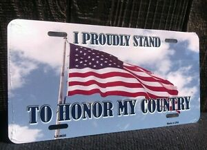 Proudly Stand Honor Country American Flag Novelty License Plate Bar Wall Decor