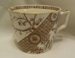 Antique Brown Transferware Ironstone Cup Aesthetic Style 1800 S