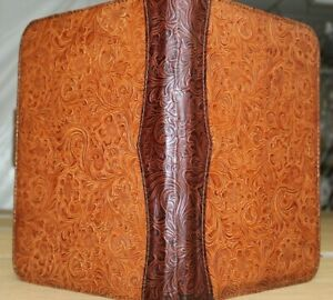 Chestnut Chocolate Western Floral Embossed Cowhide Leather Zipper Portfolio