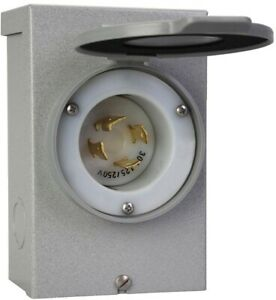Power Inlet Box 30 amp Outdoor Transfer Panel Raintight Metal Cover Flanged