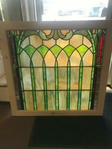 Beautiful Victorian Stained Glass Church Window In A Nice Frame Sg6