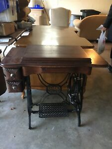 Vtg Antique Goodrich Treadle Sewing Machine Table Cabinet Cast Iron Wood Nice