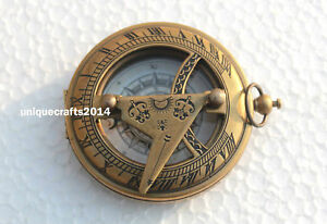 Nautical Working Sundial Push Button Compass Marine Directional Pocket Compass