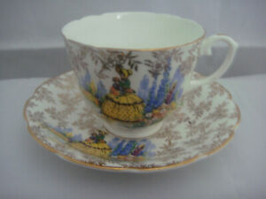 Regina Fine Bone China Made In England Chintz Cup And Saucer Girl In Garden