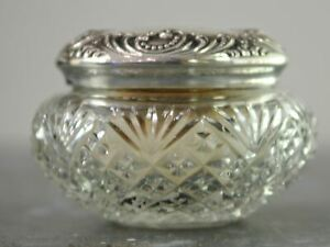 Antique American Sterling Silver And Cut Glass Vanity Jar With Bone And Down Pow