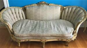 1900 S Antique French Carved Couch Settee Tufted Louis Xv Ornate Rococo Pickup
