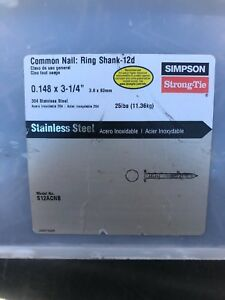 304 Stainless Steel 3 25 12d Nails Simpson Strong Tie S12acnb 25 Lbs