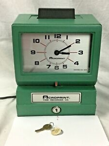 Vintage Acroprint Time Recorder Manual Punch Clock Industrial Office125nr4 W key