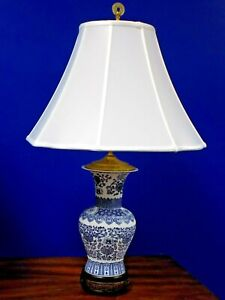 Pair Of 27 Chinese Bisque Porcelain B W Baluster Vase Lamps Asian Oriental