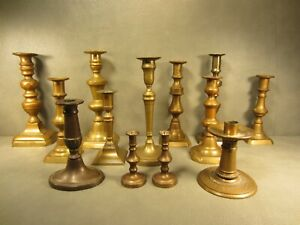 Huge Lot Of 13 Antique Brass Candlesticks Candle Holders