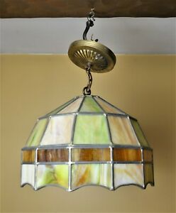 Vintage Leaded Stained Glass Hanging Light Swag Tiffany Lamp 11 Diameter