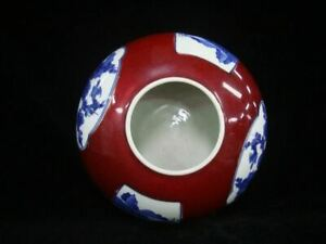 Old Chinese Red Glaze Blue White Porcelain Brush Washer Water Pot Kangxi Mark