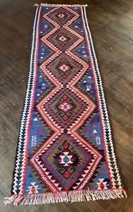 Handmade Kilim Blue White And Red Aztec Style Runner Rug 7 2 X 26 5
