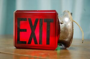 Beautiful Vintage Double Sided Exit Sign Red Bevelled Glass Intact With Base