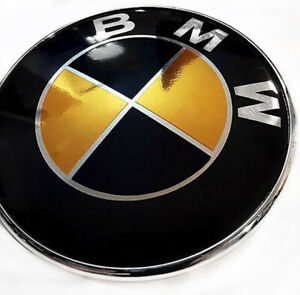 Bmw Chrome Gold Gloss Black Emblem Sticker Overlay Complete Set Decal Full Set