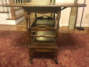 Vintage Arts Crafts Oak Serving Drop Leaf Table Tea Cart W Tray And Drawer