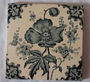 English Charming Floral Antique 6 Inch Tile
