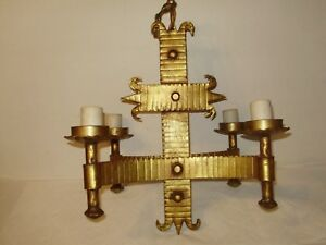 Antique Wrought Iron Spanish Revival Gothic Gold Gilded 4 Arm Chandelier