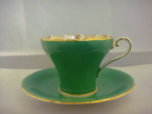 Aynsley Bone China Made In England Cup And Saucer With Gold Leaves In Cup