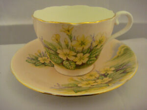 Aynsley Bone China Made In England Cup And Saucer Peach With Yellow Flowers