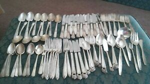 92 Assorted Vintage Silverplate Flatware Pieces Craft Jewelry Upcycle Lot