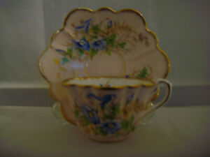 Rosina Bone China Made In England Cup And Saucer Pink With Blue Flowers