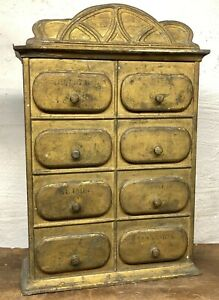 Original Antique 8 Drawer Tin Spice Cabinet Cupboard Apothecary Chest Parts Bin