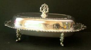 Sheraton Silver Plate 3 Piece Covered Butter Footed