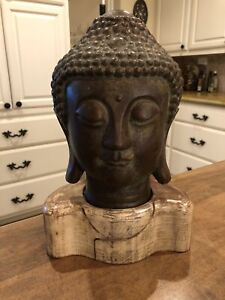 Large Tibetan Solid Copper Shakyamuni Amitabha Buddha Head Statue Sculpture