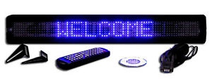 Bright Blue Led Programmable Display Sign Wireless Remote 26 x4