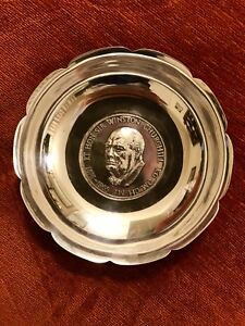 Vintage Solid Silver British Ww2 Leader Winston Churchill Bowl English Hallmarks