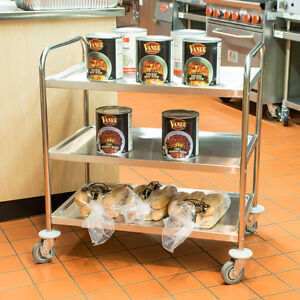 Restaurant Kitchen Stainless Steel 3 Shelf Utility Cart With Casters