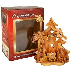 Olive Wood Nativity Scene Ornament from Bethlehem Christmas Tree with Incense