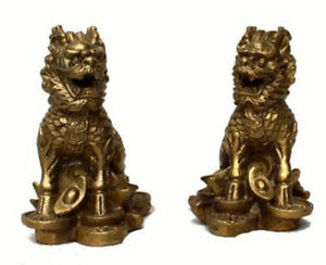 China Chinese Fengshui Brass Animal Door Kylin Chi Lin Qilin Wealth Statue Pair