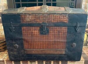 Antique Dome Top Metal Wood Steamer Trunk 19 Tall X 28 Long X 16 Wide
