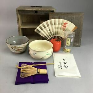 Japanese Tea Ceremony Set Vtg Chabako Bowl Scoop Whisk Fan Kyo Ware Px159